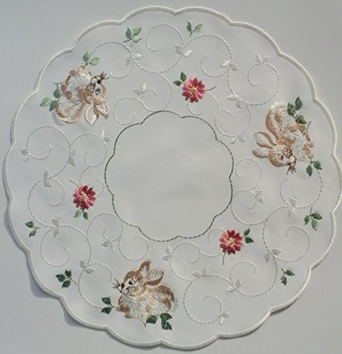 Spring or Easter Linen Doily with Sitting Brown Bunny and Dainty Pink Flowers (11 Inch round) (Pink Easter Spring)