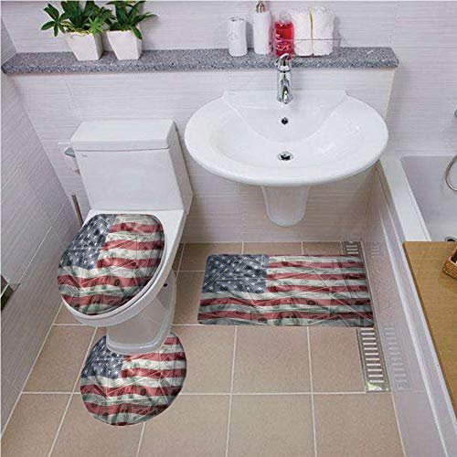 3 Piece Bathroom Contour Rugs ,American Flag Decor,American Dollar on Flag Money Currency Exchange Value Global Finance Idol,Multi ,Bath mat set Round-Shaped Toilet Mat Area Rug Toilet Lid Covers 3PCS -