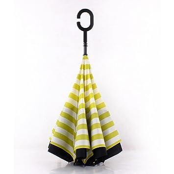 Xiaowei rayas marino Inverser paraguas Windproof Fibrosis OS parasol lluvia paraguas, amarillo