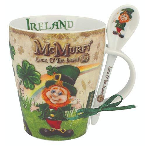 McMurfy Luck O' The Irish Leprechaun Designed Mug & Spoon Set