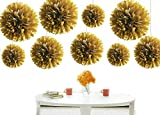 Kubert® 12PCS Mixed 8'' 10'' 14'' Sizes Gold Party Tissue Paper Flower Pom Poms Wedding Pompoms Garland Birthday Party Baby Room Nursery Decoration - Pom Poms Ball Blooms Tissue Paper Flowers