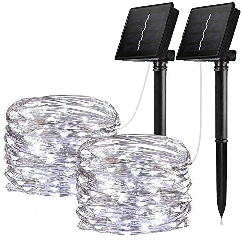 - IOTOP Solar String Lights, 2 Pack 100 LED Solar Fairy Lights 33 ft Copper Wire Lights Waterproof Outdoor String Lights for Garden Patio Gate Yard Party Wedding Warm (Cool White 2-Pack)