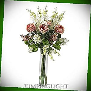 JumpingLight 1220-PK Rose, Delphinium and Lilac Silk Flower Arrangement Artificial Flowers Wedding Party Centerpieces Arrangements Bouquets Supplies