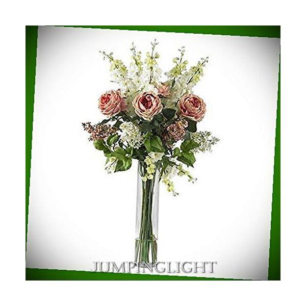 JumpingLight 1220-PK Rose, Delphinium and Lilac Silk Flower Arrangement Artificial Flowers Wedding Party Centerpieces Arrangements Bouquets Supplies