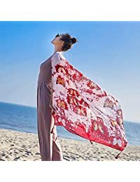 THSTVweijin Ms. Scarf Cotton Travel Scarf Vacation Sunscreen Scarf Air Conditioning Large Shawl Beach Towel THSTVweijin (Color : Butterfly Red)