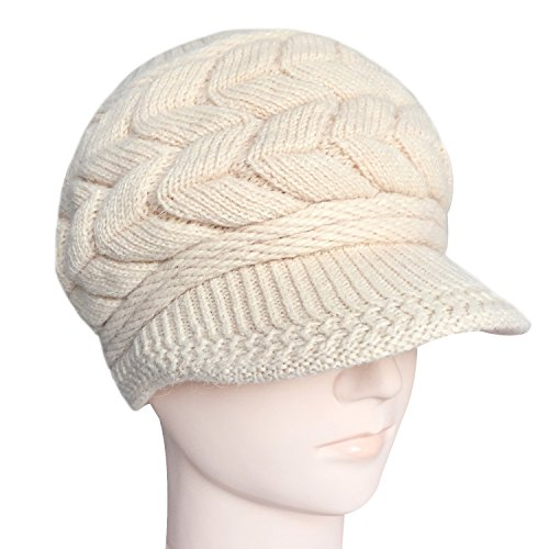 Loritta Women's Winter Knitting Skull Cap Wool Warm Beanie Hat With Visor