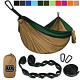 XL Double Parachute Camping Hammock - Tree Portable with Max 1000 lbs Breaking Capacity - FREE 16 Loops Tree Strap & Carabiners For Backpacking, Camping, Hiking, Travel, Yard (Khaki / Dark Green)
