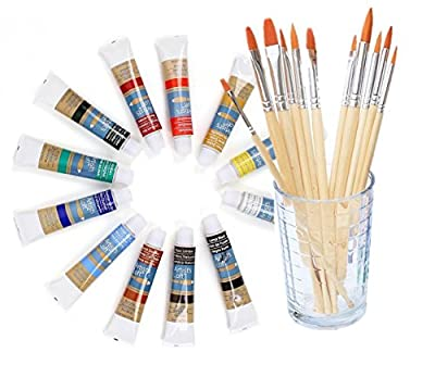Watercolor Artist set, 36 Colors, Includes a Variety of 12 Quality Brushes, Everything You Need to Get Started! Brushes Works Great For Watercolor and Acrylic