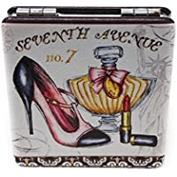 Value Arts High Heel Shoe Perfume and Lipstick Purse Compact Travel Makeup Mirror and Magnification, 2.25 Inches Square