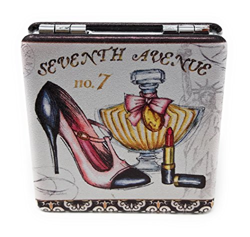 Value Arts High Heel Shoe Perfume and Lipstick Purse Compact Travel Makeup Mirror and Magnification, 2.25 Inches Square ()