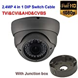 Cheap NightKing 2.4MP 1080P CCTV Security Dome Camera,4 in 1 HD TVI/CVI/AHD/CVBS,Vari Focal 2.8~12mm Lens,Outdoor/Indoor Waterproof Night Vision 100Ft,UTC,With DIP Switch Cable