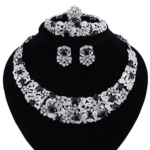 Women Bridal Fine Rhinestone Crystal Jewelry Sets For Wedding Party Dinner Dress Necklace Earring Bangle Ring Kit Gifts (Black Crystal Jewelry Set)