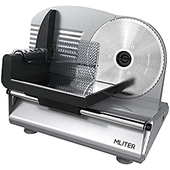 MLITER Electric Food Slicer Machine Precision 7.5-Inch Stainless Steel Blade For Bread and Meat, 150 Watt, Silver