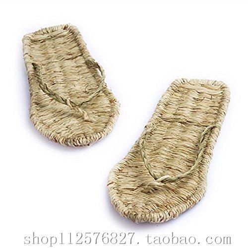 @Sandals Flip Flops, Reine Handarbeit Stroh, Hausschuhe, Füße, Antik.