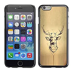LASTONE PHONE CASE / Slim Protector Hard Shell Cover Case for Apple Iphone 6 / Wood Deer Antlers