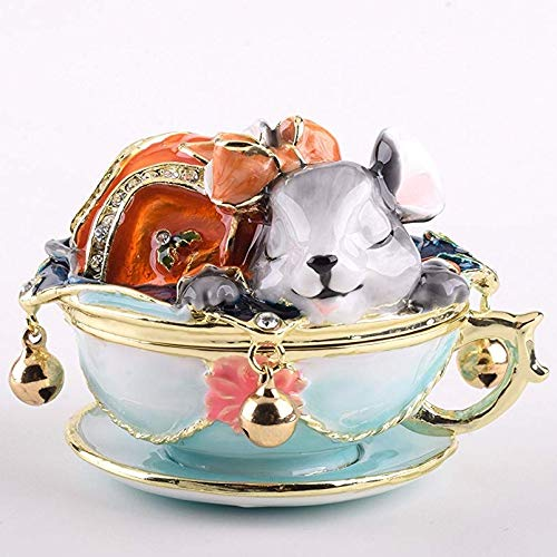 Keren Kopal Rat on Tea Pot Trinket Box Faberge Style Decorated with Swarovski Crystals Unique Home Decor