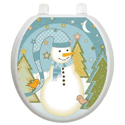 best Toilet Tattoos TT-X623-R Folk Snowman Design Toilet Seat Applique, Round