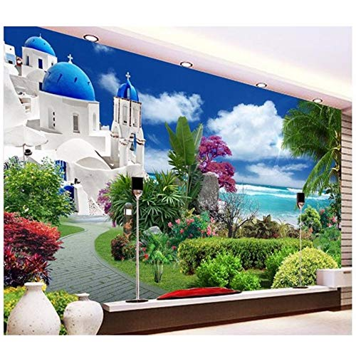 - Pbldb 3D Customized Wallpaper Photo 3D Wallpaper Aegean Garden Backdrop Wall 3D Wallpaper 3D Landscape Wallpaper-280X200Cm