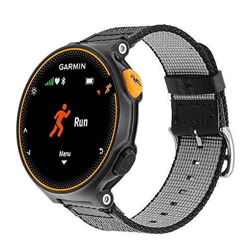 C2D JOY Compatible with Garmin Forerunner220/230/235/620/630/735XT Replacement Bands - GPS Running Watch Woven Nylon Band - a Single Durable Band with a Comfortable, Fabric-Like Feel - Black