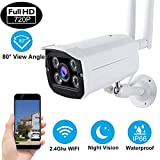 ONMet Wireless WIFI Security Camera Waterproof IP66 Outdoor,720P Bullet Camera with Two-Way Audio,4 Pcs IR LED Motion Detection Night Vision Max Support 128GB SD Card