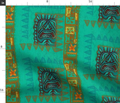 (Tiki Fabric - Retro Vintage Hawaiian Turquoise Blue-Green Tapa Mid Century Polynesian Flower by Woodyworld Printed on Petal Signature Cotton Fabric by The Yard)