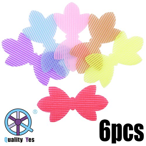 Leaves Bow (QY 6PCS Colorful Magic Bangs Hair Pad Hair Pad Hair Fringe Care Tool Makeup Accessories Leaves Bow Pattern)