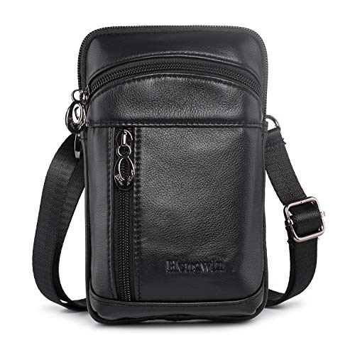 (Hengwin Leather Crossbody Shoulder Bags Men Belt Clip Phone Holsters Case Belt Loop Pouch Waist Bag Pack for iPhone Xs Max XS 8 7 Plus Galaxy Note 9 8 5)