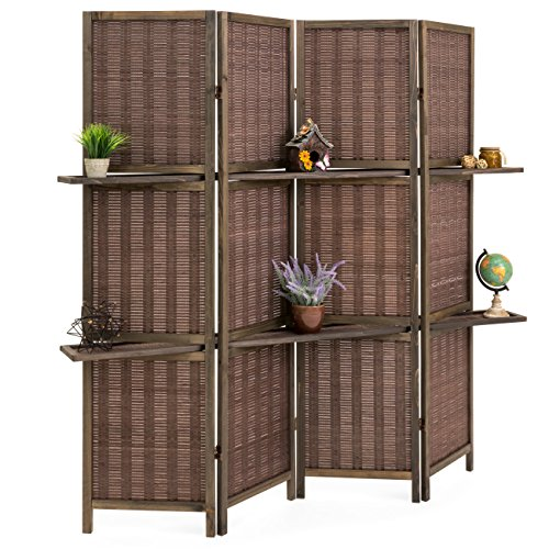 (Best Choice Products 4-Panel Woven Bamboo Folding Privacy Room Divider Screen w/Removable Storage Shelves - Brown)