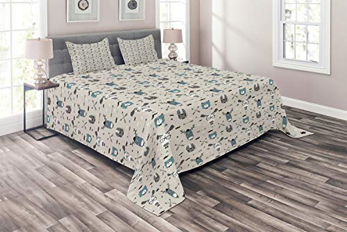 (Ambesonne Doodle Coverlet, Childish Reindeer Heads with Antlers Hipster Tiger Glasses Mustache Arrows, 3 Piece Decorative Quilted Bedspread Set with 2 Pillow Shams, King Size, Eggshell Teal Grey)
