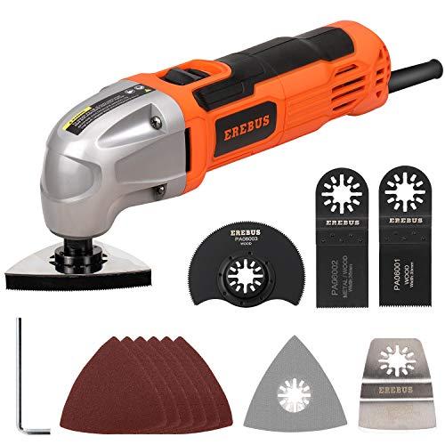 EREBUS 1.5Amp Oscillating Multi Tool Kits w/ 3x Saw Blades, 1pcs Semi Circle Blade Sanding Plate, 6pcs Sanding (86221)