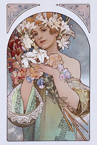 Fruit and Flower A Vintage Poster (Artist: Mucha, Alphonse) (12x18 Signed Print Master Art Print w/Certificate of Authenticity - Wall Decor Travel Poster)