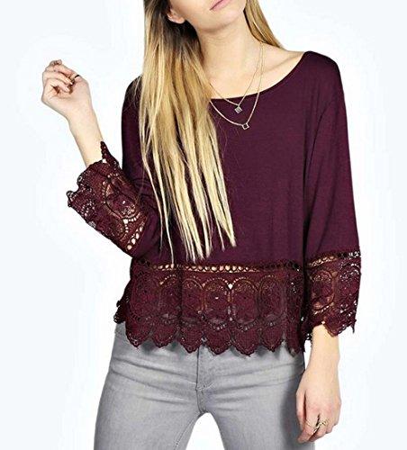 Relipop Women's Fashion O Neck Casual Tops Lace Long Sleeve Shirt Blouse Tops