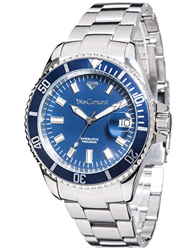 Yves Camani Anwen Mens Watch Silver Stainless Steel Blue Dial Date YC1065-C