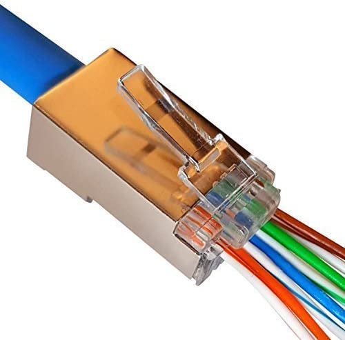 10 Pcs RJ45 Network Cable Modular Plug CAT6 8P8C Connector End Pass Through