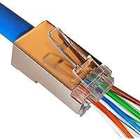 UbiGear 100 Pcs CAT5e Shielded RJ45 Pass-Through Network Cable Modular Plug 8P8C Gold-Plated Connector End (100pcs; CAT5e; Shielded)