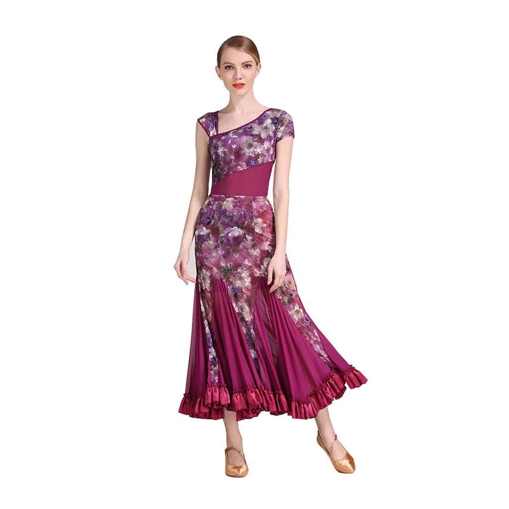 現代のダンスのドレススーツ、大人の女性のボールルームのダンスドレスの近代的なドレス B07HJ265WJ  パープル XL