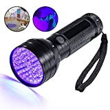 Black Light/ Pet Urine Detector/ UV Flashlight, 51 LED Professional Grade 395NM Ultraviolet Light Detector for Dog/Cat Urine, Dry Stains,Bed Bug,Stain Detection Best for Commercial/Domestic/Hotel Use