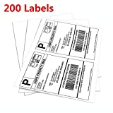 Half Sheet Self Adhesive Shipping Labels for Laser & Inkjet Printers White Blank,2 Labels per Sheet (200 Lables)