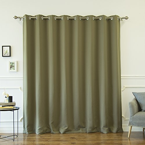 Best Home Fashion Premium Olive Wide Width Silver Stainless Steel Grommet Top Thermal Blackout Curtain 100