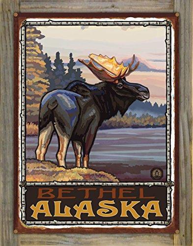 Bethel Alaska Moose Rustic Metal Print on Reclaimed Barn Wood by Paul A. Lanquist (18