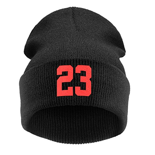 (DongDong Fashion Hat, Unisex Warm Winter Letter Printed Solid Knit Hip-hop Beanie Cap)