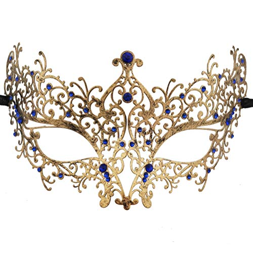 Xvevina Sexy Luxury Masquerade Mask for Women Metal Royal Blue Rhinestone Eye Mask Mardi Gras
