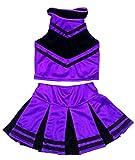 Little Girls' Cheerleader Cheerleading Outfit Uniform Costume Cosplay Halloween Violet/Black (S / 2-5)