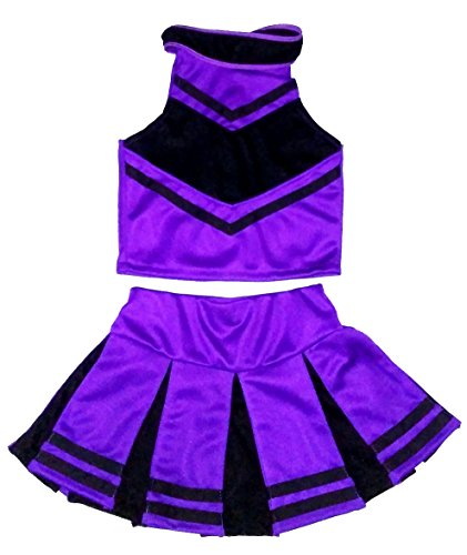 Little Girls' Cheerleader Cheerleading Outfit Uniform Costume Cosplay Halloween Violet/Black (XL / 10-12) -