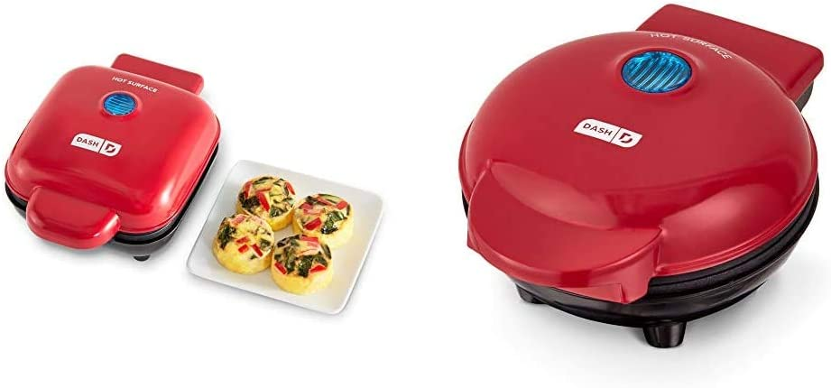 Dash DBBM450GBRD08 Deluxe Sous Vide Style Egg Bite Maker with Silicone Molds (1 large, 4 mini), Red & Mini Maker: The Mini Waffle Maker Machine - Red