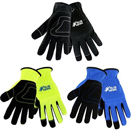 Blue Hawk 3-Pack Large Male Polyester Leather Palm Work Gloves Model # LW86156-L3P