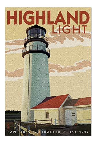 - Cape Cod, Massachusetts - Highland Light (20x30 Premium 1000 Piece Jigsaw Puzzle, Made in USA!)