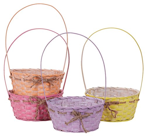 Wicker Spring Easter Baskets with Plastic Liners & Rope Bow - Set of 4 ()
