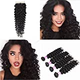 Suerkeep 8A Virgin Brazilian Deep Wave 4 Bundles With Free Part Closure Remy Human Hair Weave Deep Wave Soft Human Hair Weft Can Be Dyed, Bleached And Restyled (18 20 22 22+16, Natural Color) For Sale