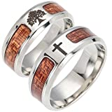 Wintefei Unisex Wood Inlaid Stainless Steel Tree of Life Cross Finger Ring Jewelry Gift